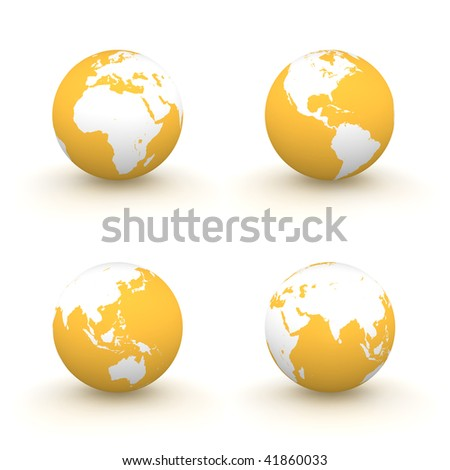 four views of a 3D globe with white continents and a orange ocean