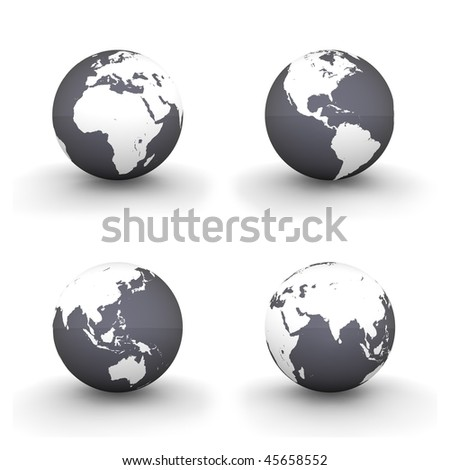 four views of a 3D globe with white continents and a shiny black ocean - stock photo