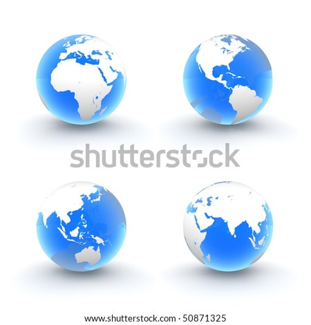 four views of a 3D globe with white continents and a shiny blue transparent ocean