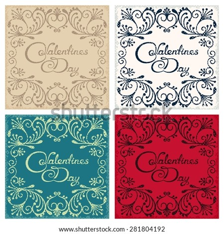Four vintage postcard with design lettering - Valentine's day  - stock photo
