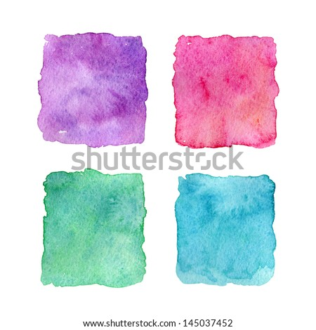 Four watercolor squares - stock photo