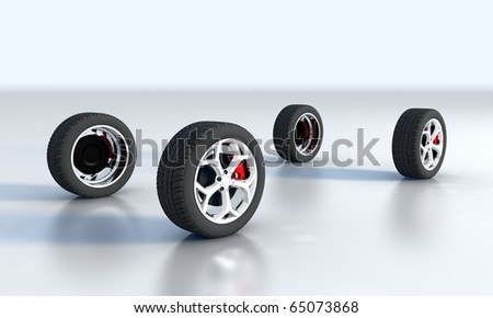 Four wheel isolated on a white background - stock photo