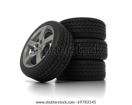 Four Wheels isolated on white. 3D illustration