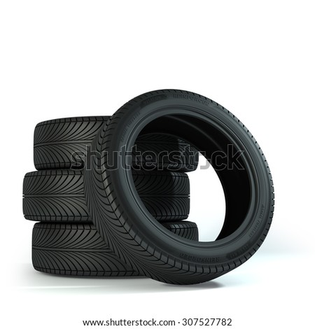 Four Wheels over the white background. - stock photo