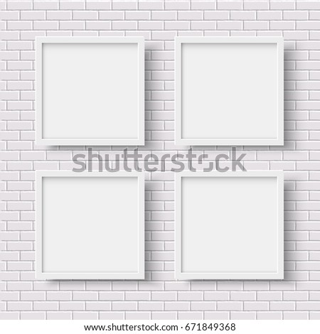 four white square empty frames on white brick wall - White Square Frames
