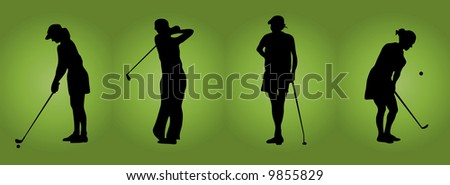 four women playing golf - stock photo
