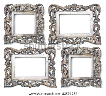 Four wooden picture frames rectangle and square - stock photo