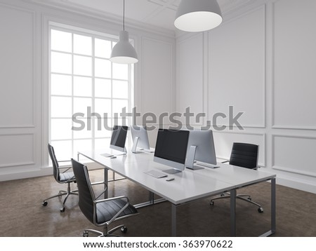 Four workplaces arranged in pairs symmetrically with computers only on them. Four leather chairs around the table. Window at the background. Side view.  3D rendering.