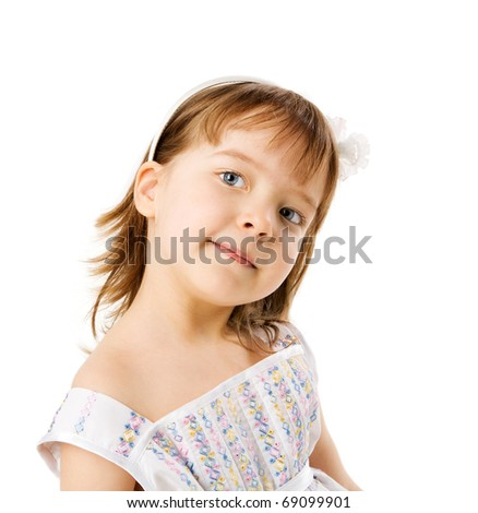 Four years old girl portrait isolated on white - stock photo