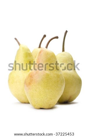 Four yellow pears on a white background.