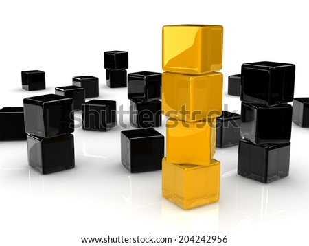 four yellow reflective cubes placed observably in a group of black cubes