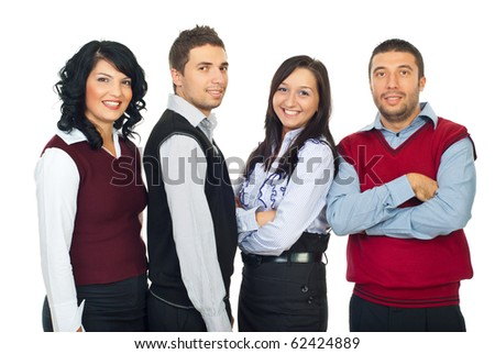 Four young business people standing in a row and smiling isolated on white background - stock photo