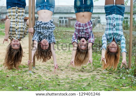 Girl Hanging Upside Down From a Tree Girls Hanging Upside Down