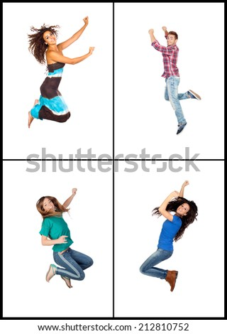 Four young people jumping isolated on white background - stock photo