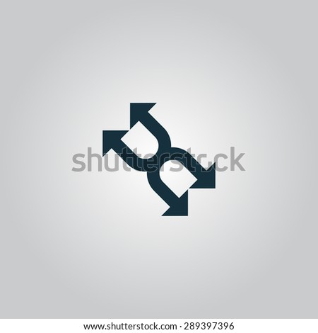 Fourfold Arrow. Flat web icon or sign isolated on grey background. Collection modern trend concept design style illustration symbol - stock photo