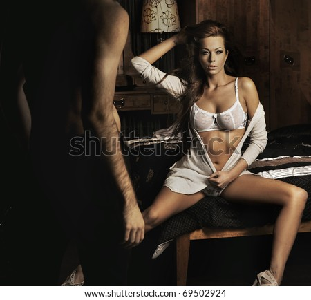 Fourplay in bedroom - stock photo