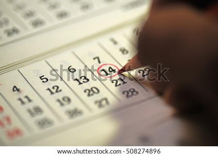 Fourteenth day of month/ Month Calendar/ Planning mark on the date