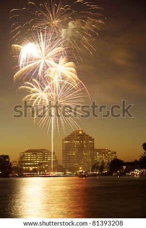 Fourth July Fire works - stock photo