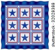 Fourth of July Americana Quilt: Old fashioned patriotic patchwork design in red, white & blue gingham checks, polka dots & stars, blue satin border. - stock vector