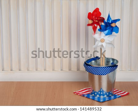 Fourth of July or Independence Day Decoration in Red, White, and Blue with Room or Space for your Words or Text - stock photo