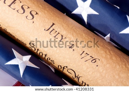 Fourth of July Parchment Document witdh American Flag - stock photo