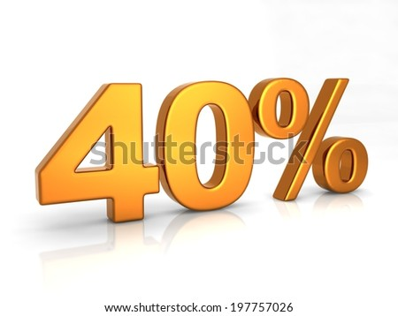 Fourty percent 3D text on white background