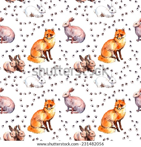 Fox and rabbits. Wild animal wallpaper with footprint. Repeating watercolor sketch - stock photo