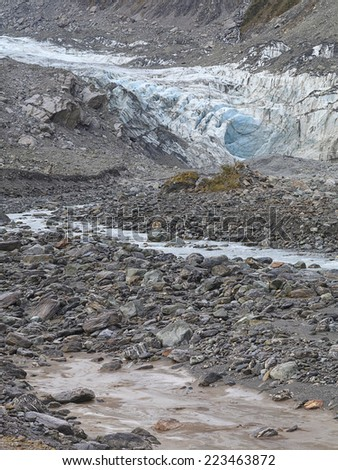 Fox Glacier in Westland National Park on the West Coast of the South Island of New Zealand. - stock photo