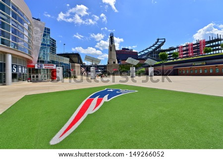 FOXBORO, MA - JULY 5: Gillette Stadium, home of the New England Patriots on July 5th, 2013. It is located 21 miles southwest of Boston and 20 miles from Providence, Rhode Island. It can sit 68756. - stock photo