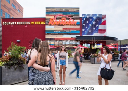 FOXBORO, MASSACHUSETTS - SEPTEMBER 12, 2015:  Fans taking photographs as they await entry into Gillette Stadium, home of the New England Patriots,  for the One Direction concert.  - stock photo