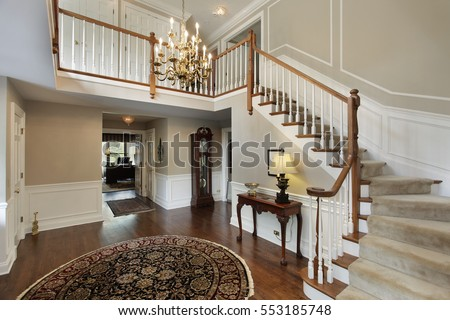 Luxury Home Foyer : Foyer luxury home carpeted stairs stock photo royalty free