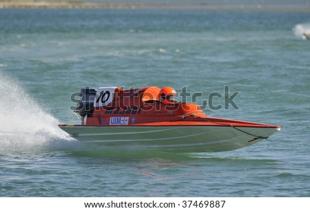 FOZ DO ARELHO - SEPTEMBER 20: SANTIAGO CASAS  of the PORTUGAL Participates in the Grand Prix de Portugal Speedboat - Foz do Arelho in September 20, 2009 in Foz do Arelho in Portugal - stock photo