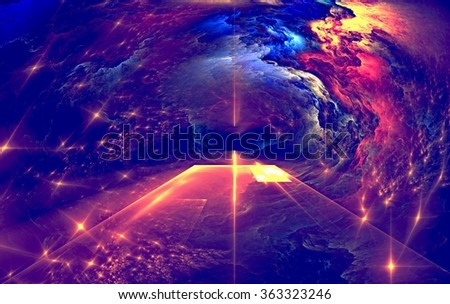 Fractal abstraction on a dark background. Glowing Star - stock photo