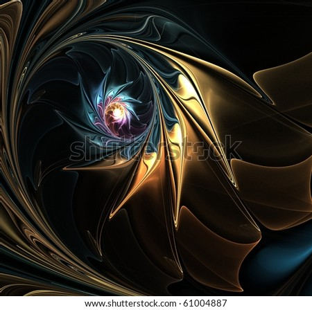 fractal abstraction on black background - stock photo