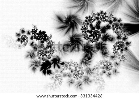 Fractal art background for creative design. Decoration for wallpaper desktop, card, poster, cover booklet. Abstract texture. Psychedelic. Print for clothes, t-shirt. Black and white fractal - stock photo