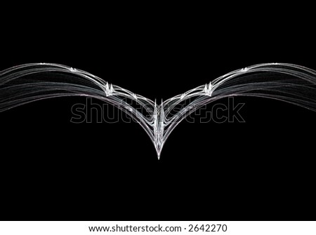 Fractal bird on a black background - stock photo