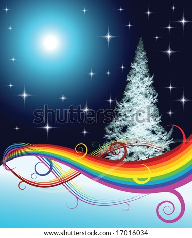 Fractal Christmas tree with rainbow on night background