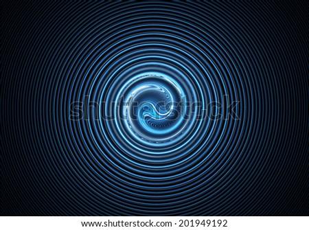 Fractal Circle Blue - stock photo