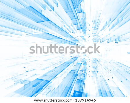 Fractal City series. Abstract arrangement of three dimensional fractal structures and lights suitable as background for projects on technology, communications, education and science - stock photo