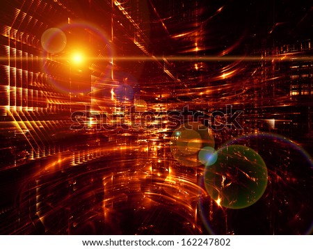 Fractal City series. Abstract design made of three dimensional fractal structures and lights on the subject of technology, communications, education and science - stock photo