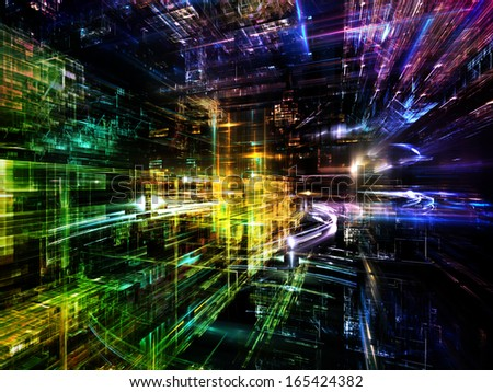 Fractal City series. Backdrop design of three dimensional fractal structures and lights to provide supporting composition for works on technology, communications, education and science
