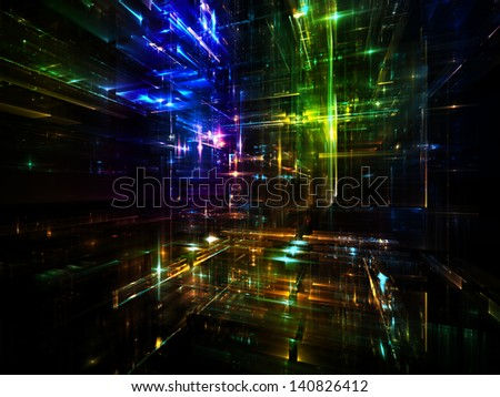 Fractal City series. Backdrop of  three dimensional fractal structures and lights to complement your design on the subject of technology, communications, education and science