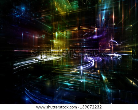 Fractal City series. Composition of three dimensional fractal structures and lights on the subject of technology, communications, education and science