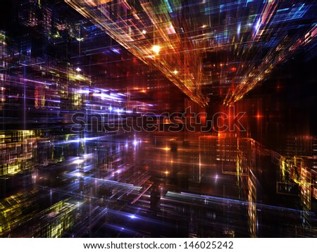 Fractal City series. Composition of  three dimensional fractal structures and lights to serve as a supporting backdrop for projects on technology, communications, education and science