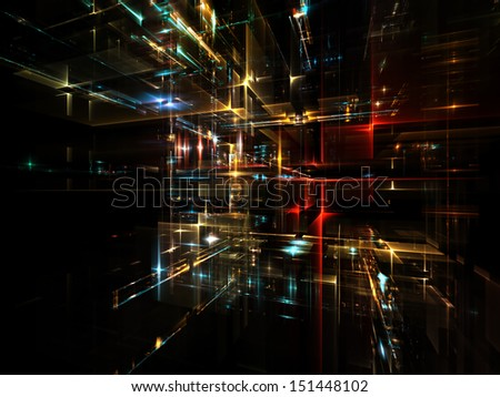Fractal City series. Graphic composition of three dimensional fractal structures and lights to serve as complimentary backdrop in designs on  technology, communications, education and science