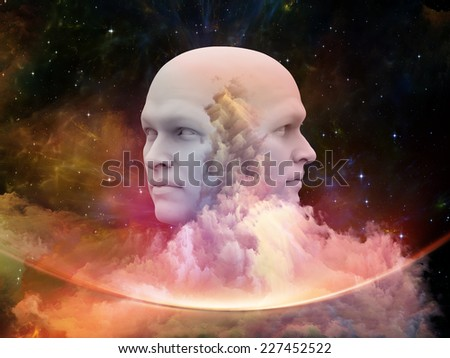 Fractal Dream series. Composition of human face and fractal textures on the subject of mind, dreaming and imagination - stock photo