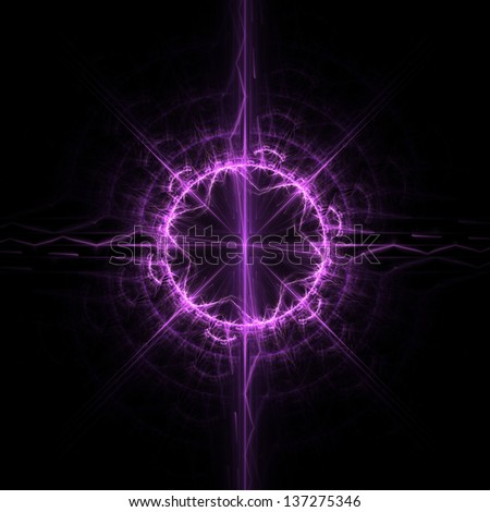 Fractal flame background. Purple ornament on black.