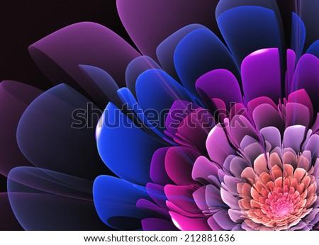 Fractal Flower Violet - stock photo
