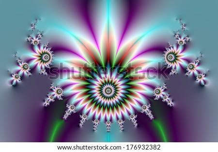 Fractal Flowers / Digital abstract fractal image with a floral design in blue, purple, red and green.