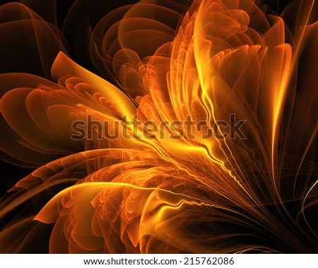 fractal gold abstract - stock photo